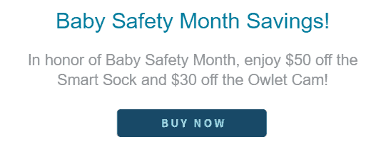 Save $50 when you purchase Owlet Smart Sock and save $30 on Owlet Smart Sock