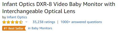 infant Optics ratings and best selling on amazon